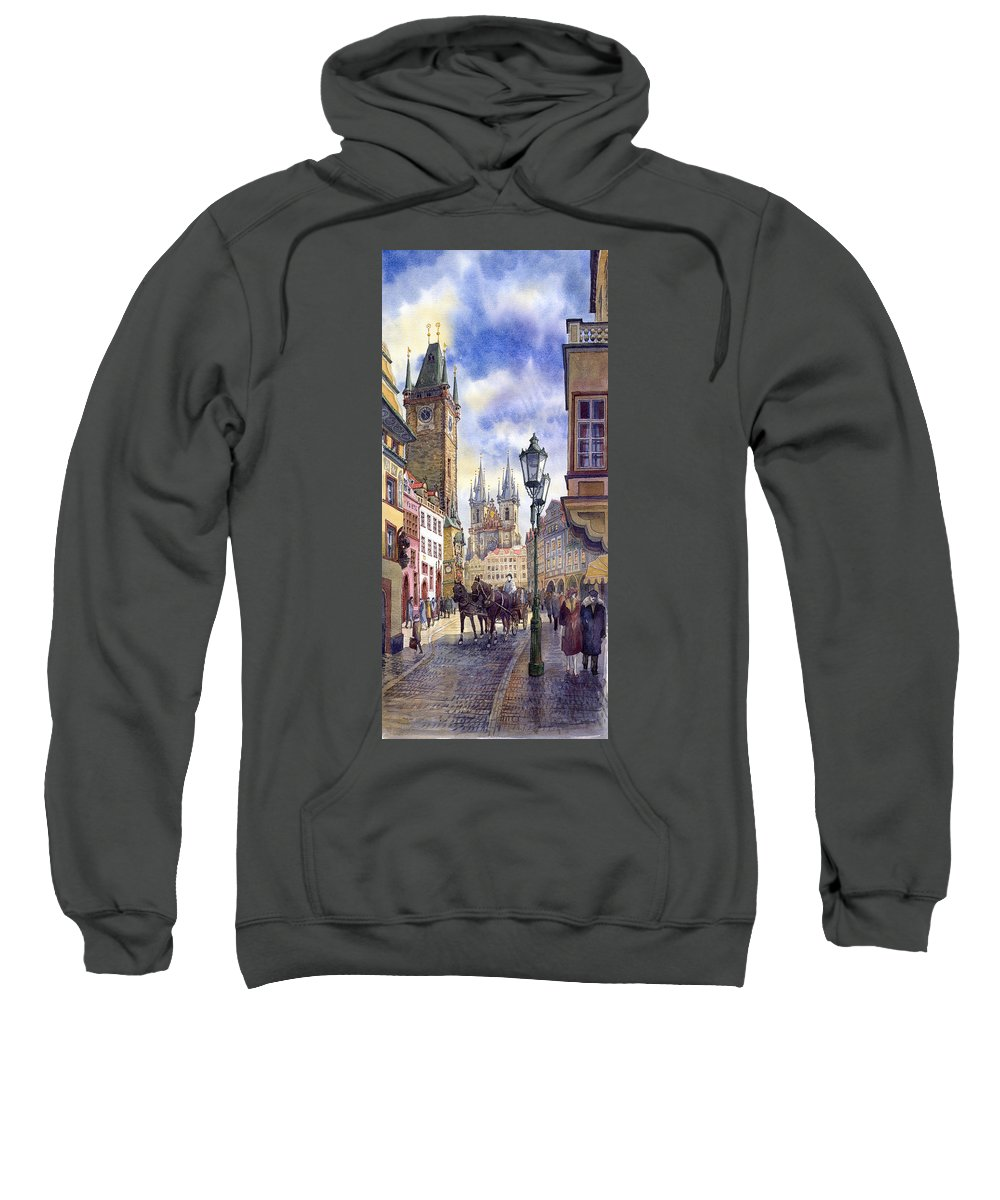 Watercolour Sweatshirt featuring the painting Prague Old Town Square 01 by Yuriy Shevchuk