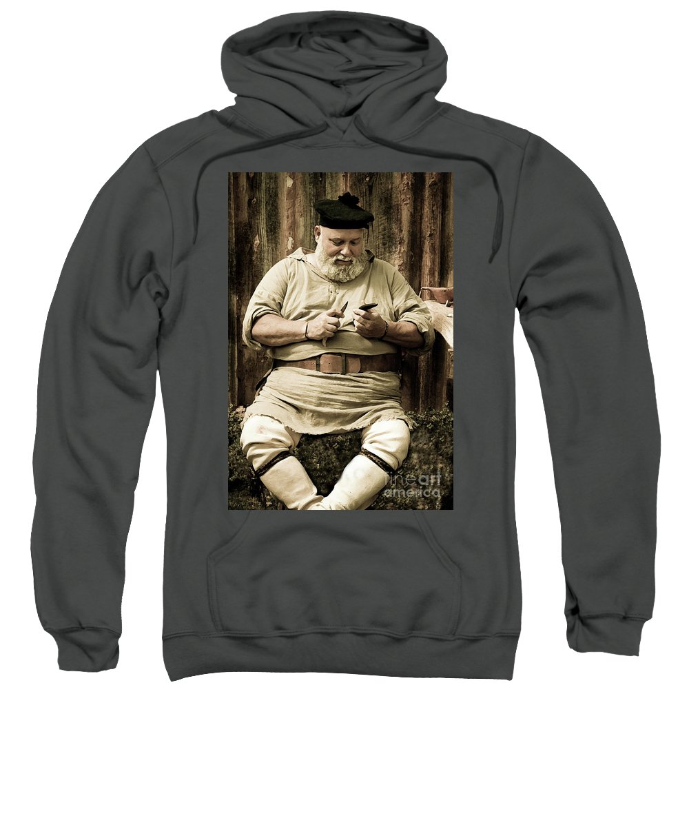 Re-enactment Sweatshirt featuring the photograph Primitive Man by Kim Henderson