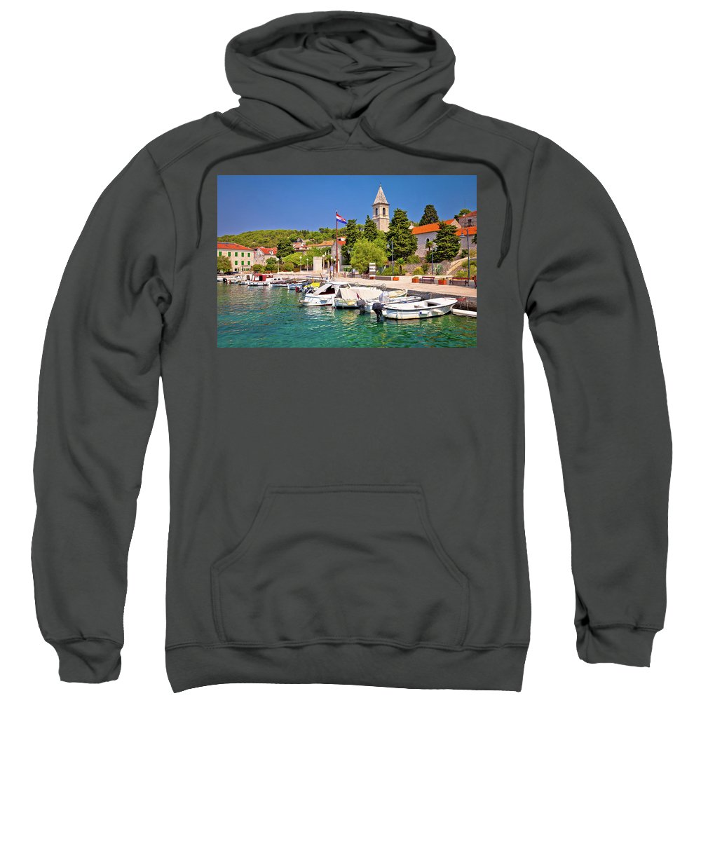 Prvic Sweatshirt featuring the photograph Prvic Luka Island Village Waterfront View by Brch Photography