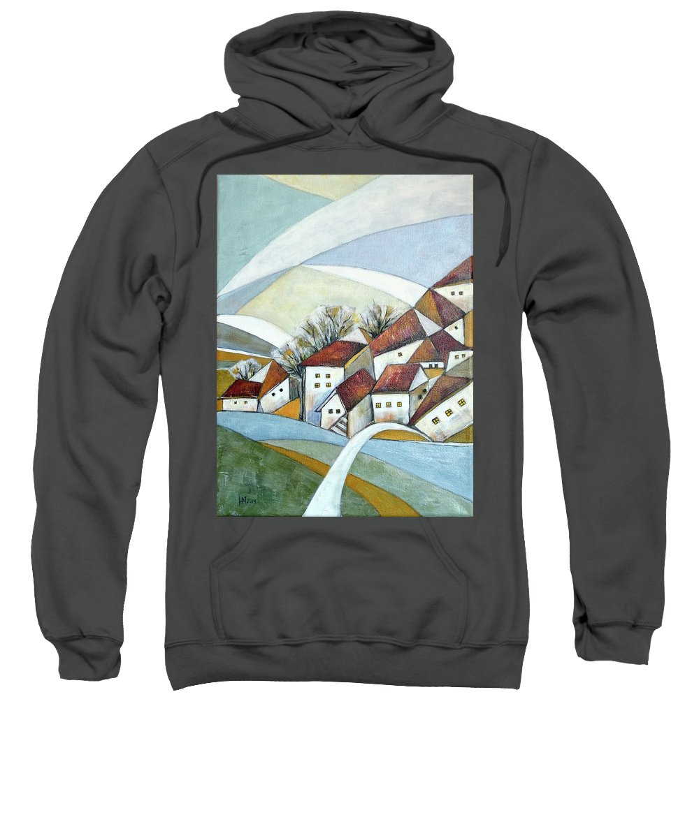 Abstract Sweatshirt featuring the painting Quiet Village by Aniko Hencz