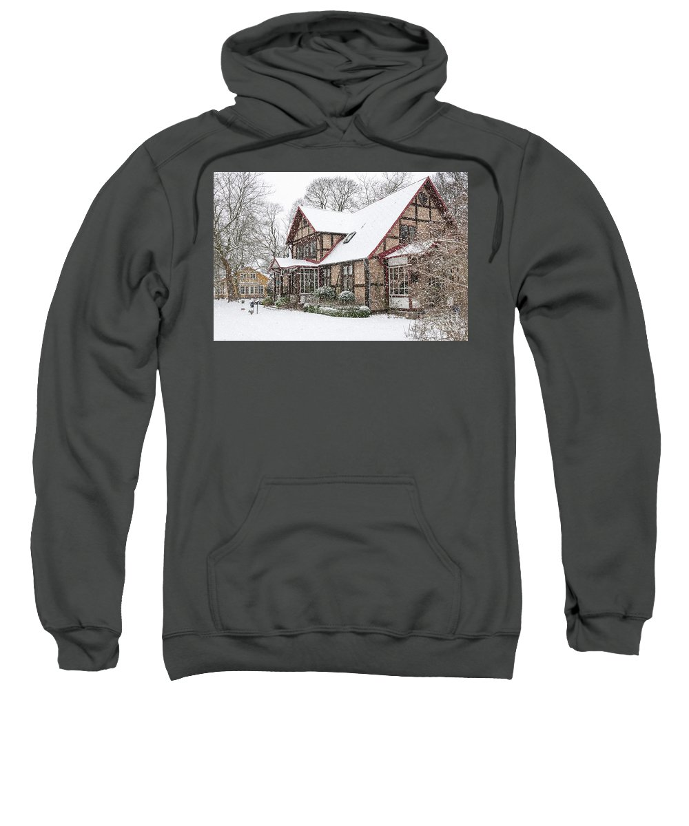 Ramlosa Sweatshirt featuring the photograph Ramlosa Brunnspark House In Winter by Antony McAulay