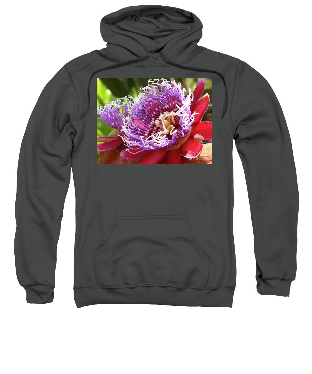 Flower Sweatshirt featuring the photograph Red Lotus by Angela Wright