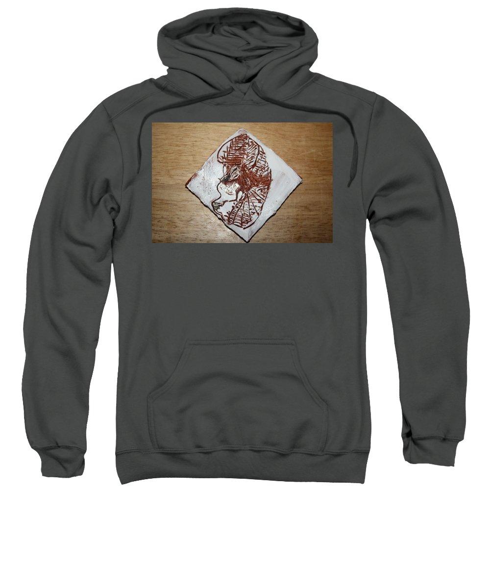 Jesus Sweatshirt featuring the ceramic art Repose - Tile by Gloria Ssali