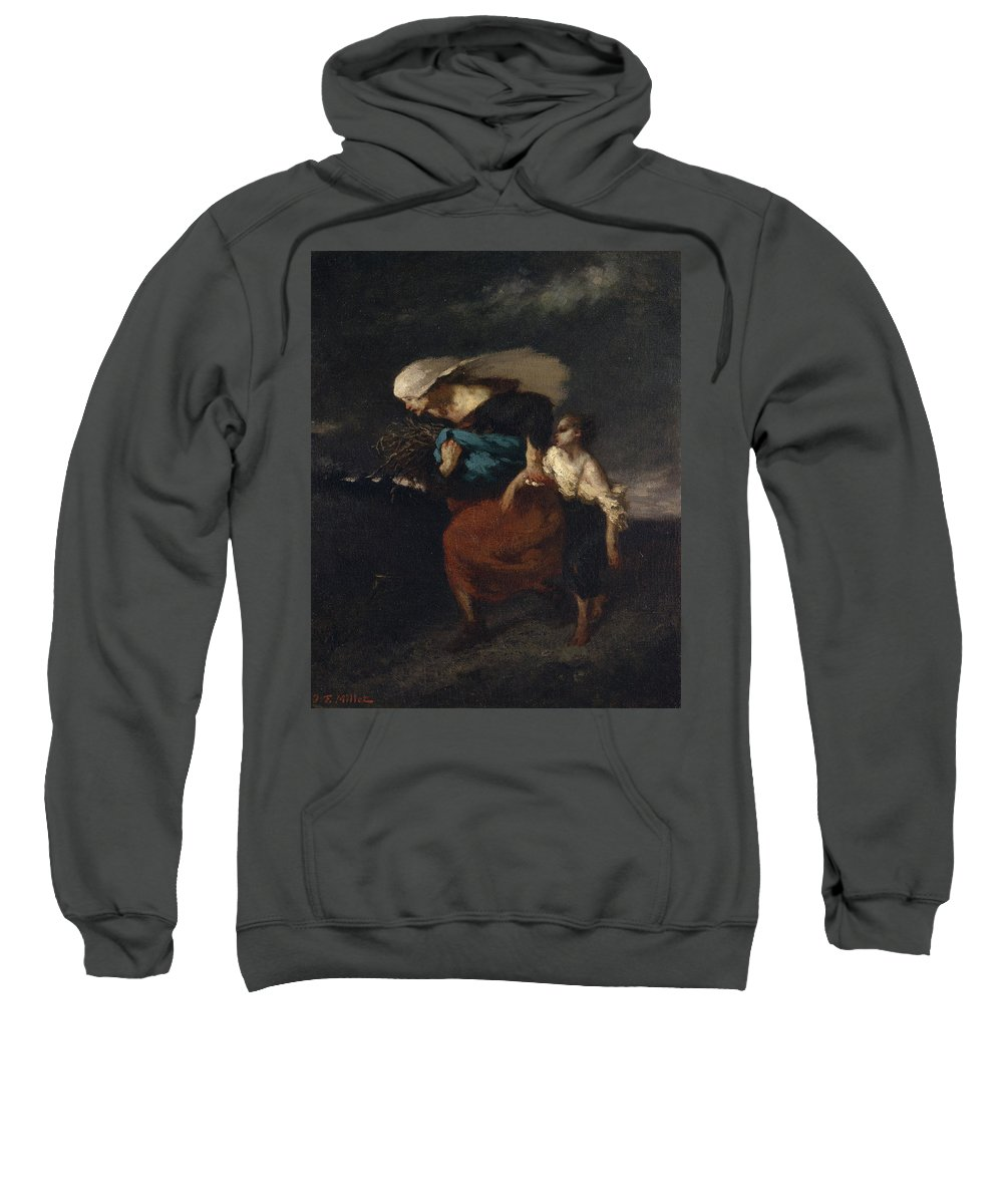 Barbizon School Sweatshirt featuring the painting Retreat From The Storm by Jean-Francois Millet