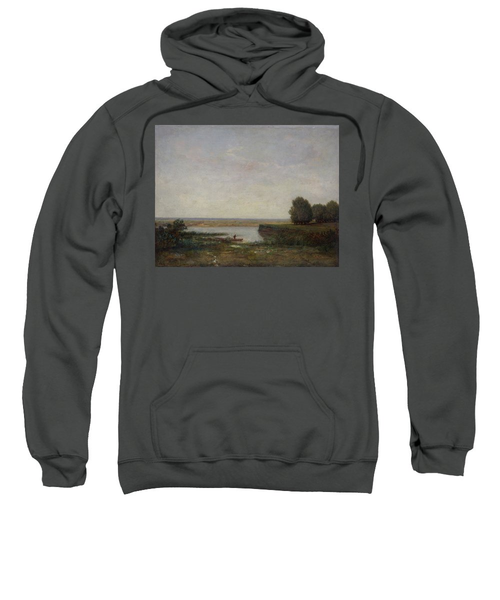 Barbizon School Sweatshirt featuring the painting River Scene by Theodore Rousseau
