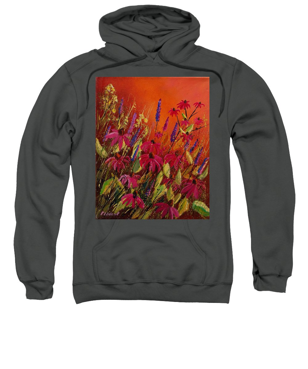 Flowers Sweatshirt featuring the painting Rudbeckias And Lyatris by Pol Ledent