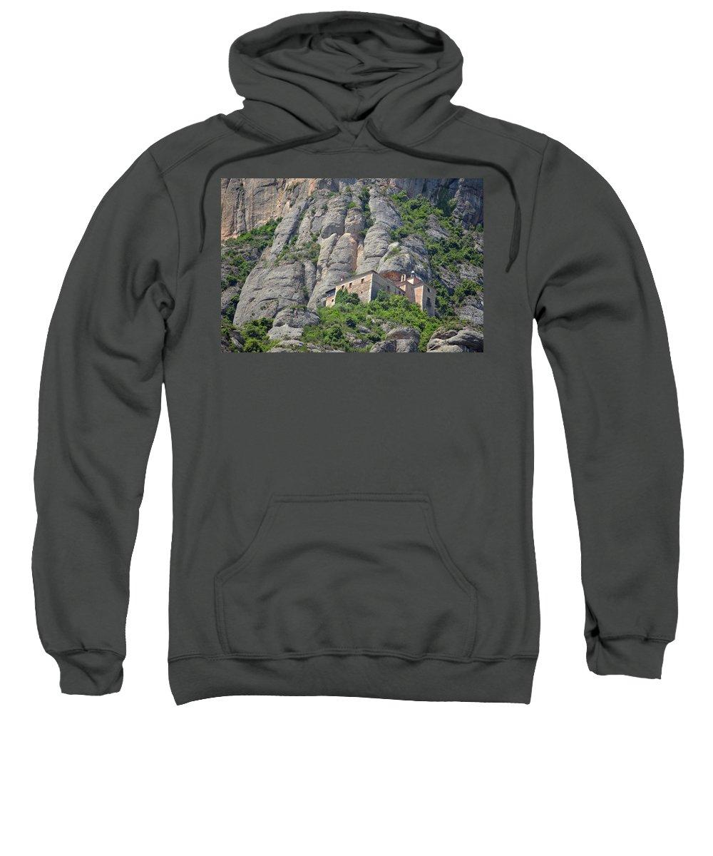 Church Sweatshirt featuring the photograph Santa Cova Monserratt Spain by Brian Fornear