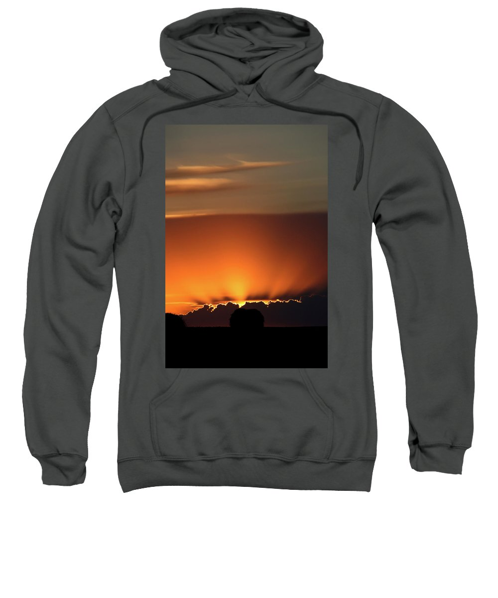 Sun Sweatshirt featuring the digital art Setting Sun Peaking Out From Storm Clouds In Saskatchewan by Mark Duffy