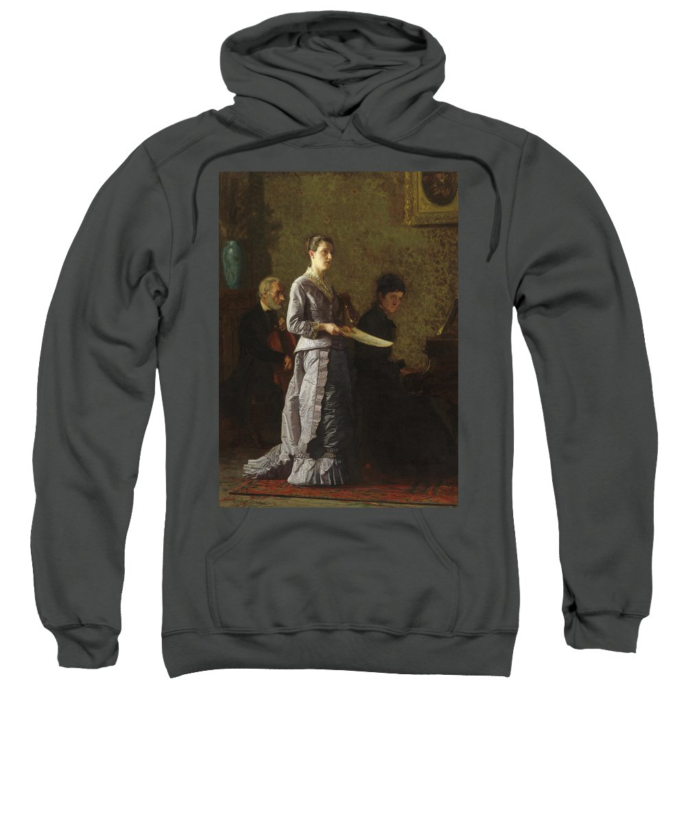 America Sweatshirt featuring the painting Singing A Pathetic Song by Thomas Eakins