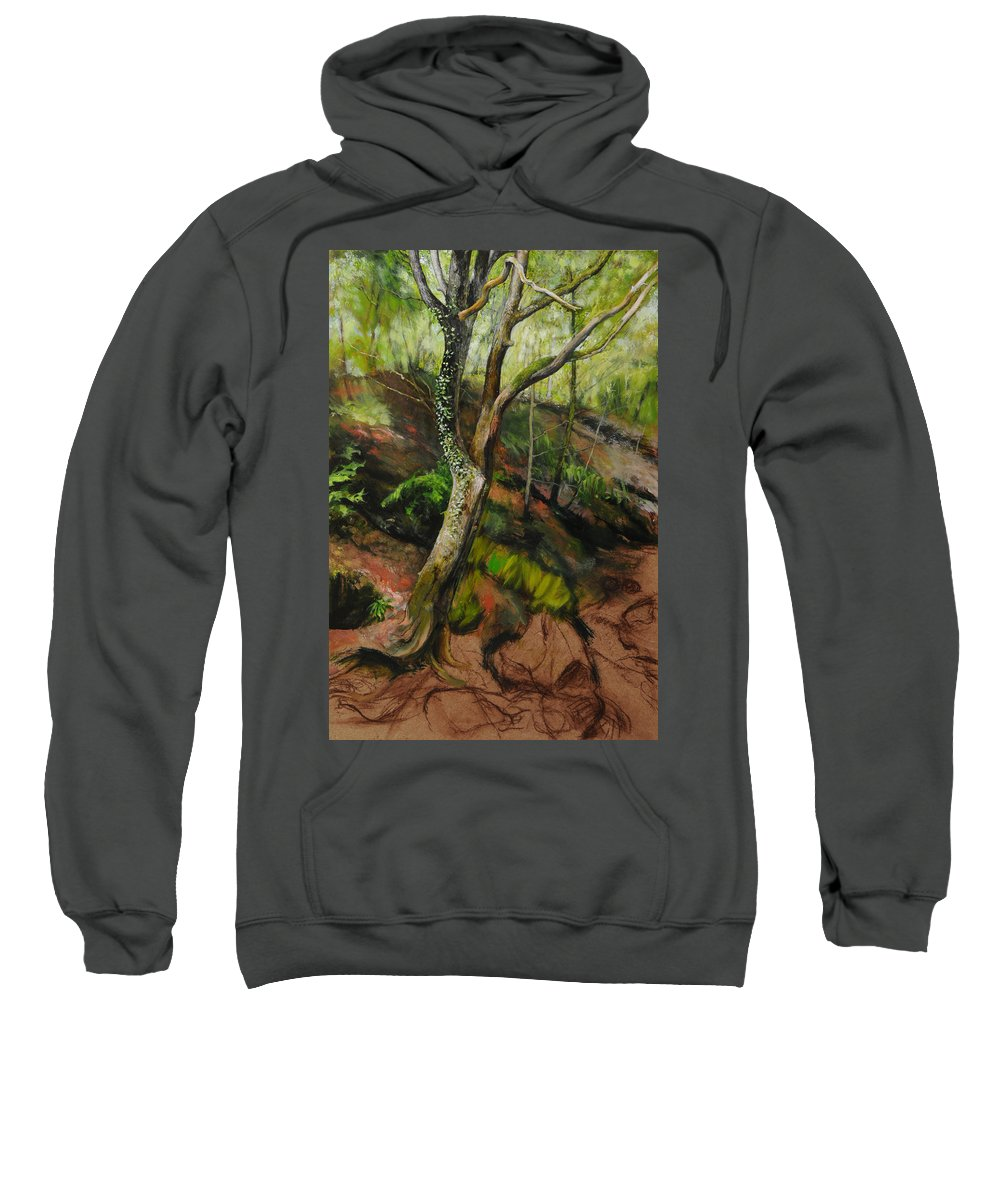 Landscape Sweatshirt featuring the painting Sketch Of A Treetrunk by Harry Robertson