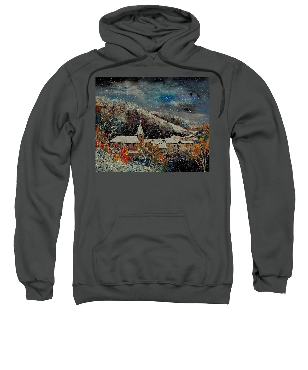 Winter Sweatshirt featuring the painting Snow In Bohan by Pol Ledent
