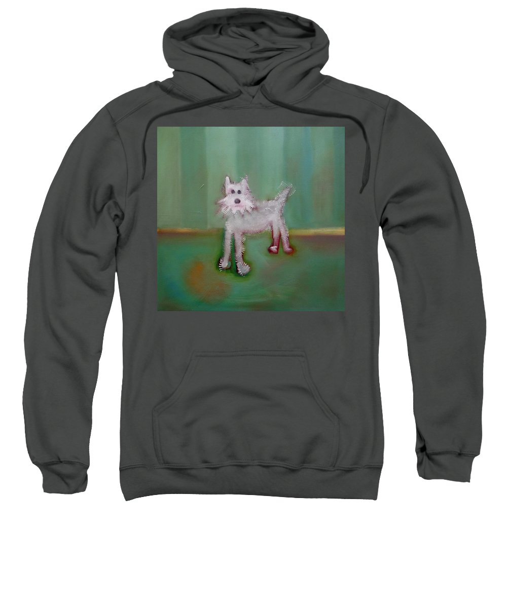 White Puppy Sweatshirt featuring the painting Snowy by Charles Stuart
