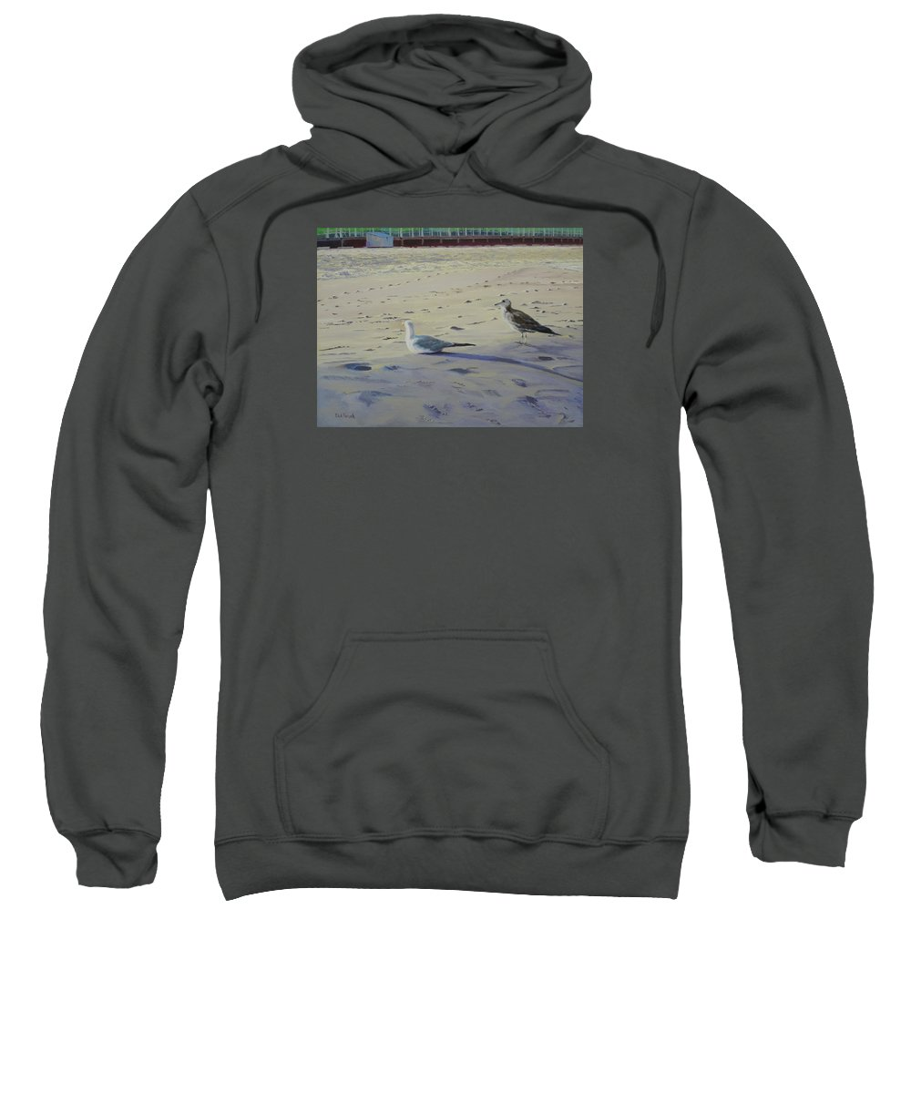 Seascape Sweatshirt featuring the painting Someone to Watch Over Me by Lea Novak