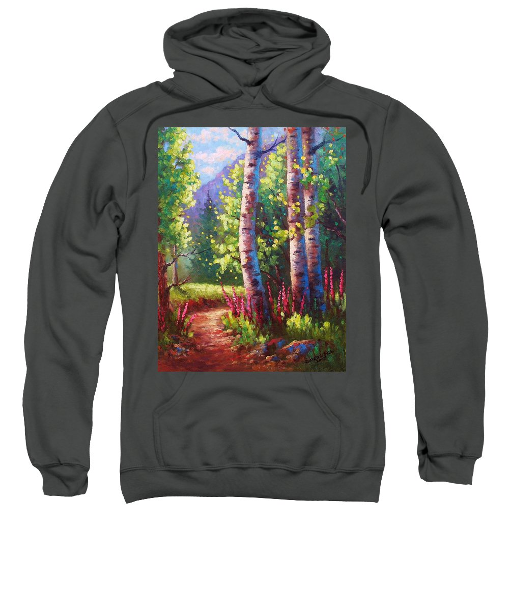 Aspen Sweatshirt featuring the painting Spring Path by David G Paul