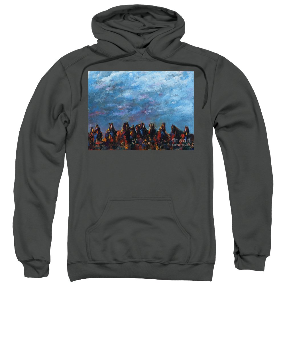 Horses Sweatshirt featuring the painting Stampede by Frances Marino