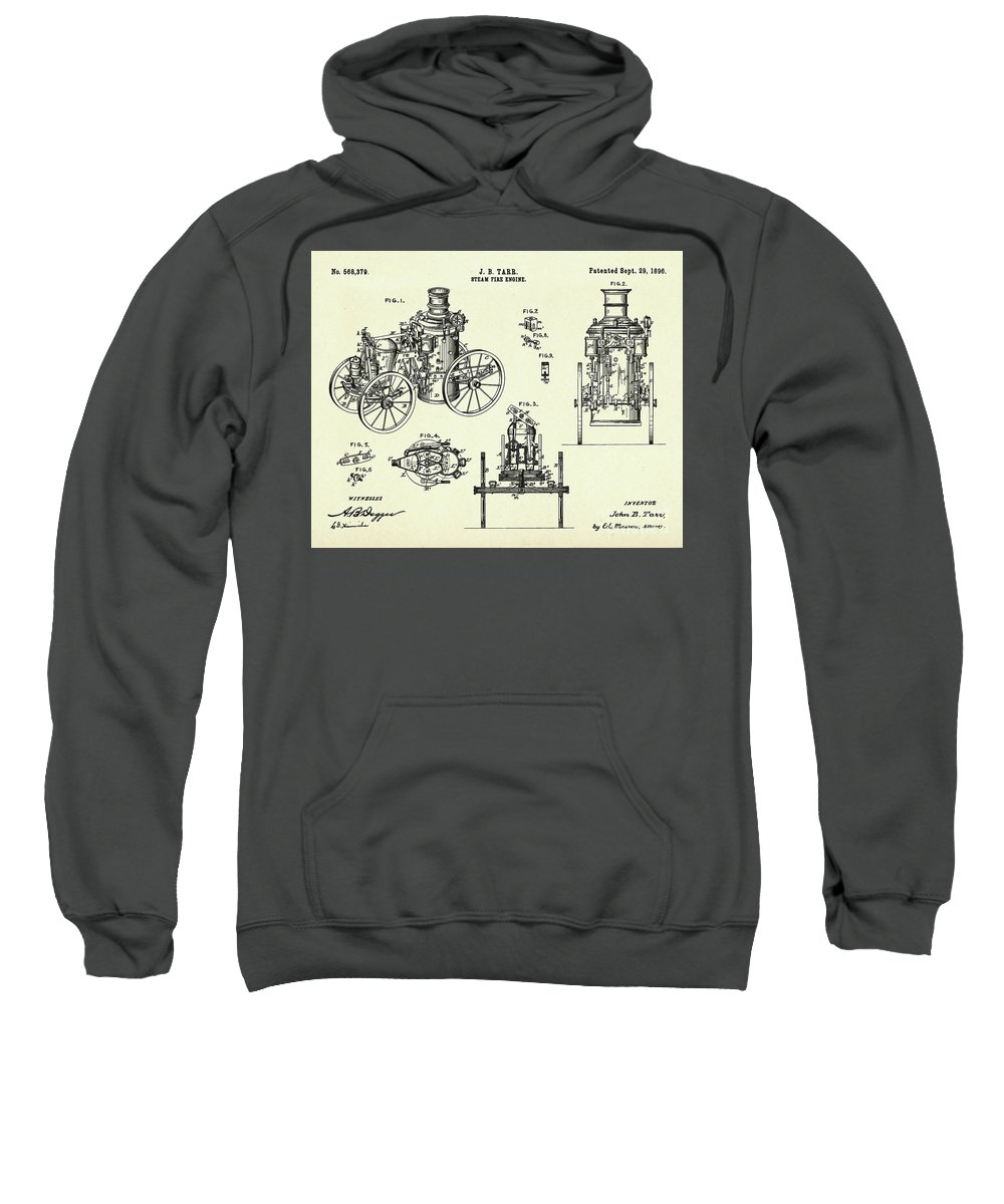 Collectibles Sweatshirt featuring the painting Steam Fire Engine-1896 by Pablo Romero