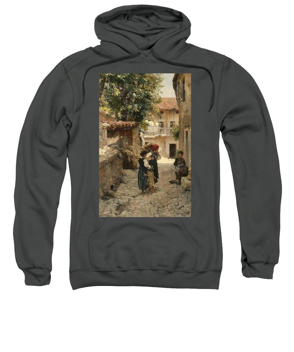Tree Sweatshirt featuring the digital art Street In Venetia Henry Woods by Eloisa Mannion