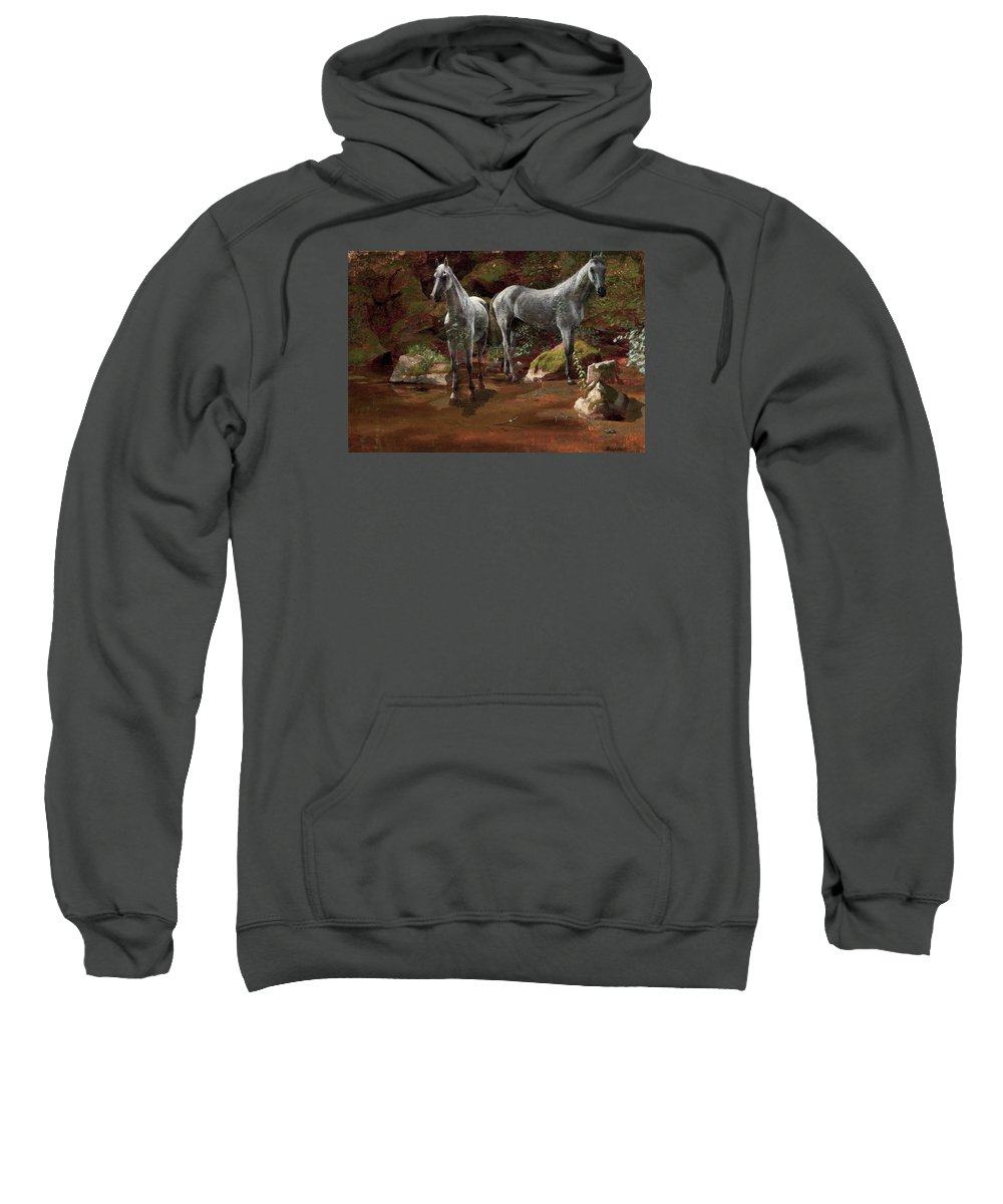 Study Of Wild Horses Sweatshirt featuring the painting Study Of Wild Horses by MotionAge Designs