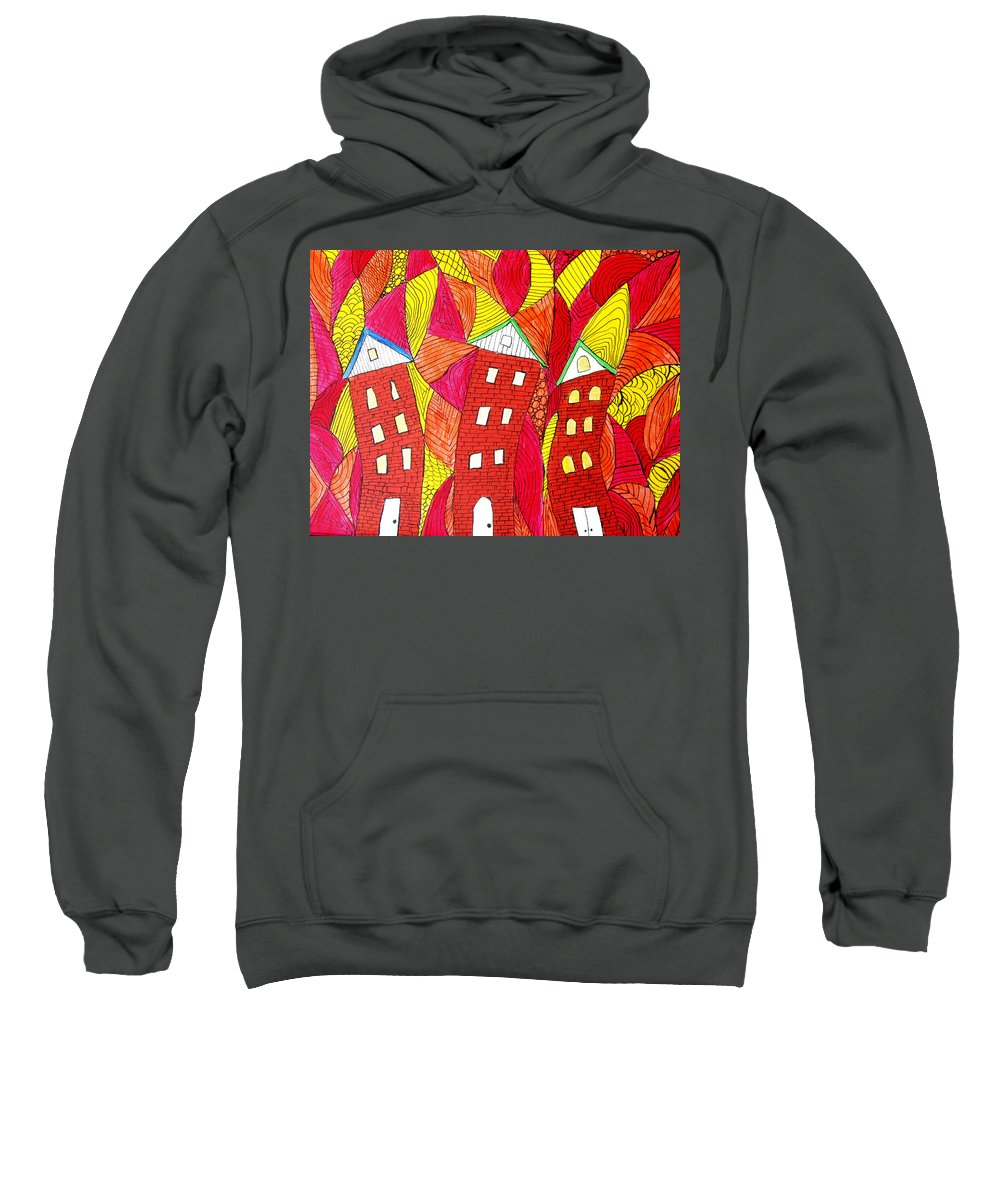 Houses Sweatshirt featuring the painting Summer In The City by Wayne Potrafka