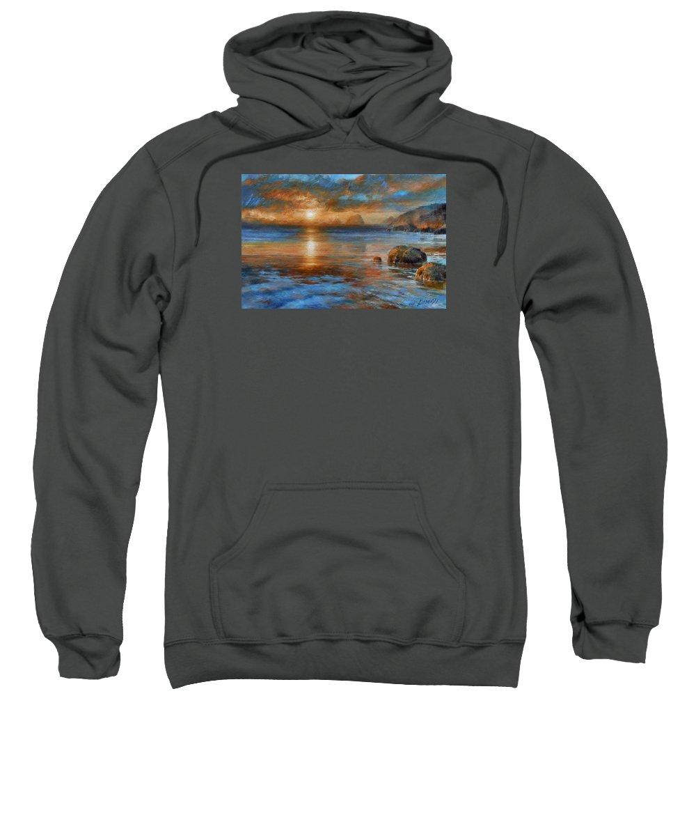 Landscape Sweatshirt featuring the painting Sunset by Arthur Braginsky