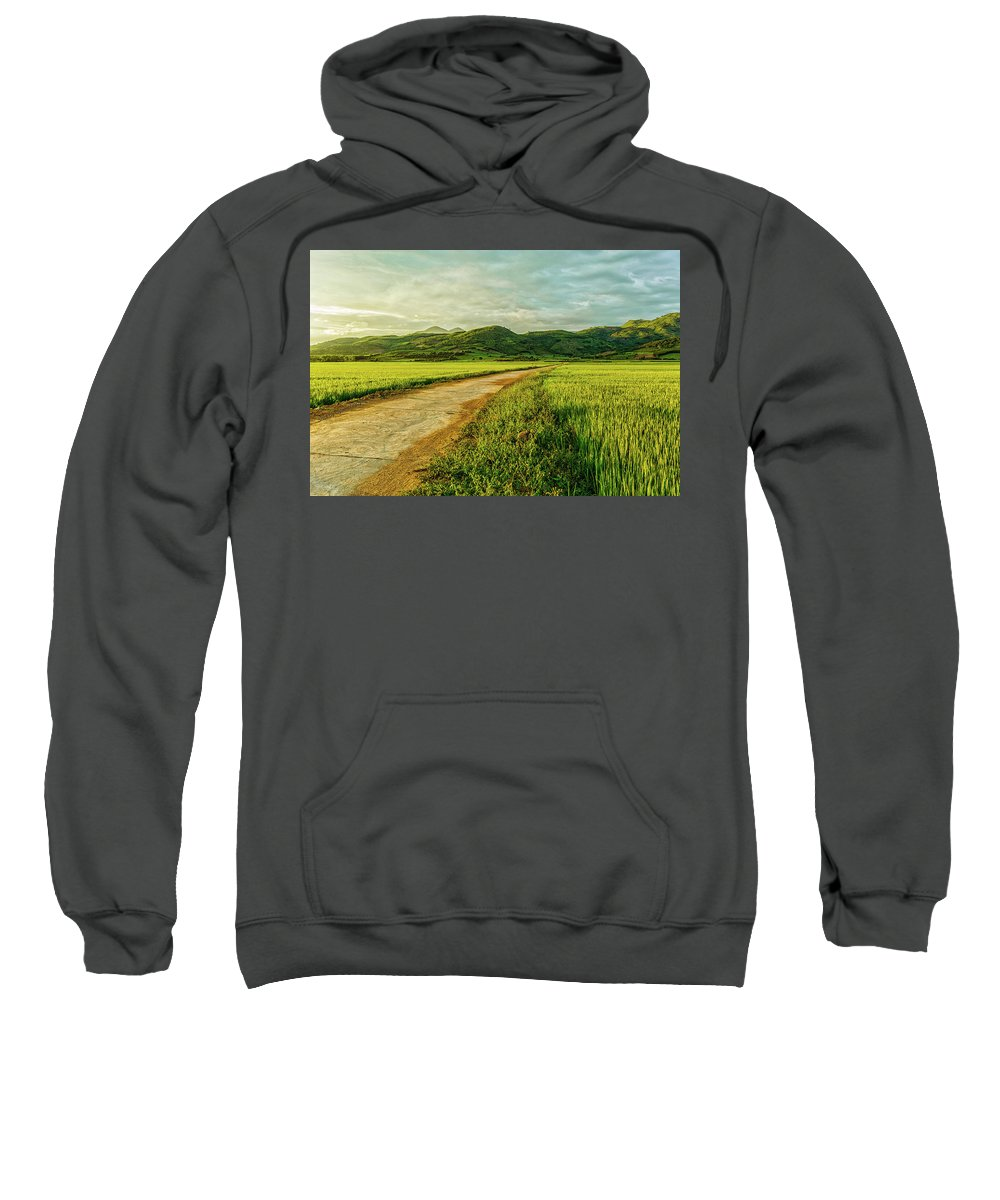 Vietnam Country Sweatshirt featuring the photograph Sunset On The Field by Nguyen Quang Thin