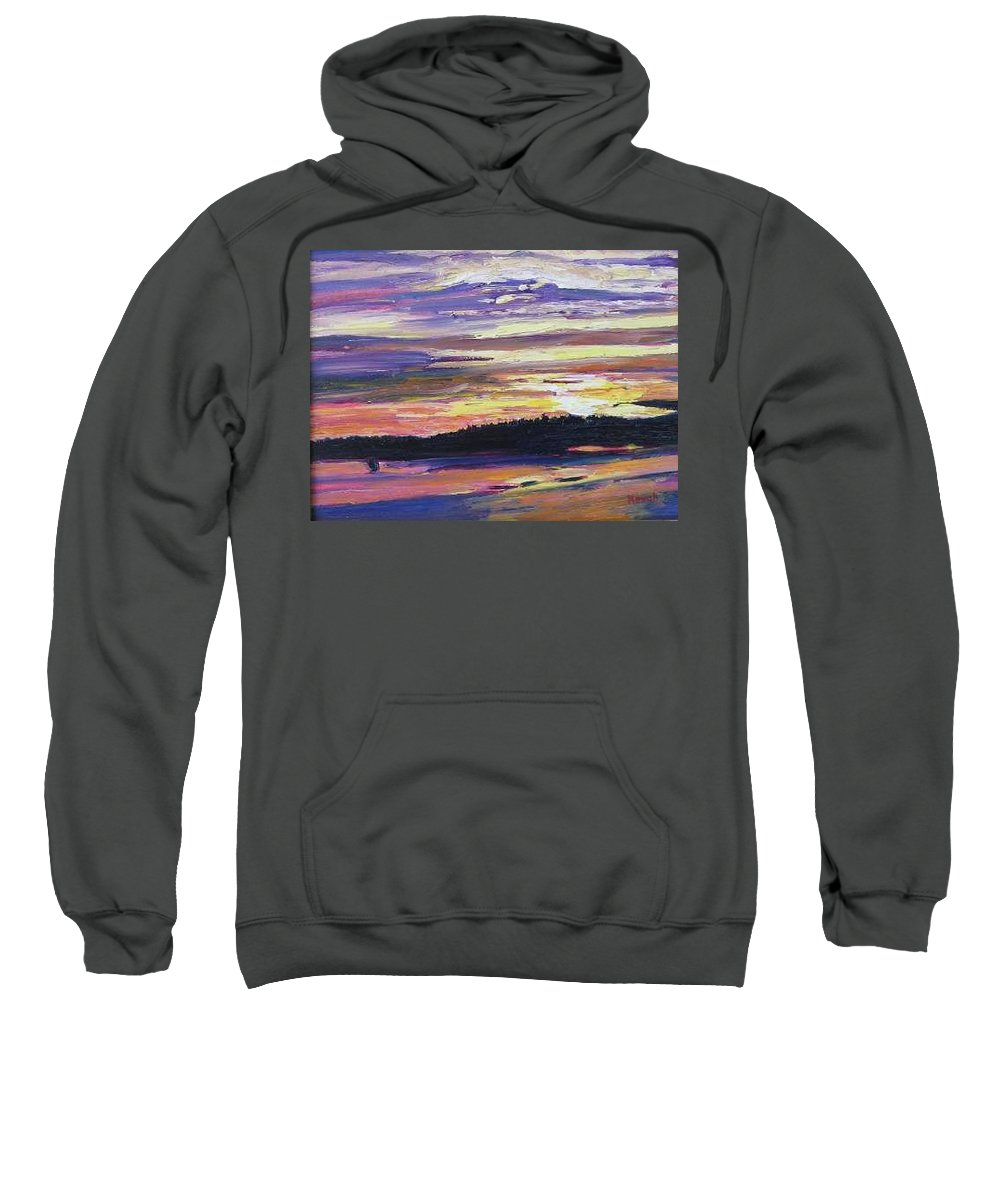 Sunset Sweatshirt featuring the painting Sunset by Richard Nowak