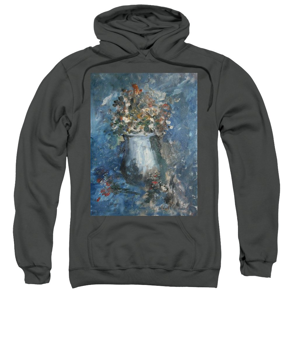 Still Life Sweatshirt featuring the painting The Blue Vase by Edward Wolverton