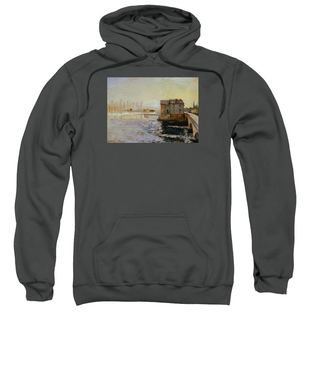 The Bridge Of Moret Sweatshirt featuring the painting The Bridge Of Moret by MotionAge Designs