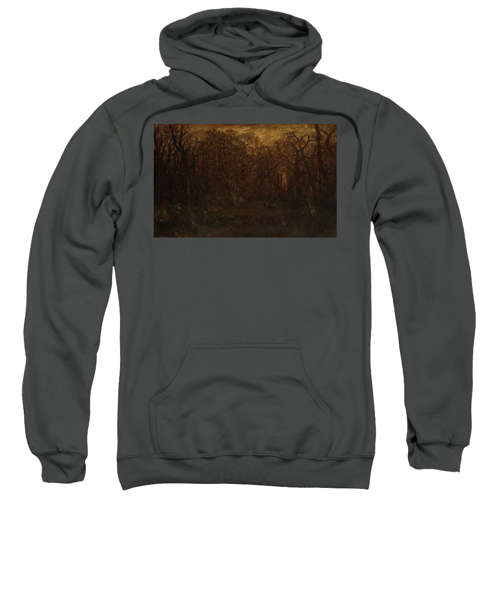 Barbizon School Sweatshirt featuring the painting The Forest In Winter At Sunset by Theodore Rousseau