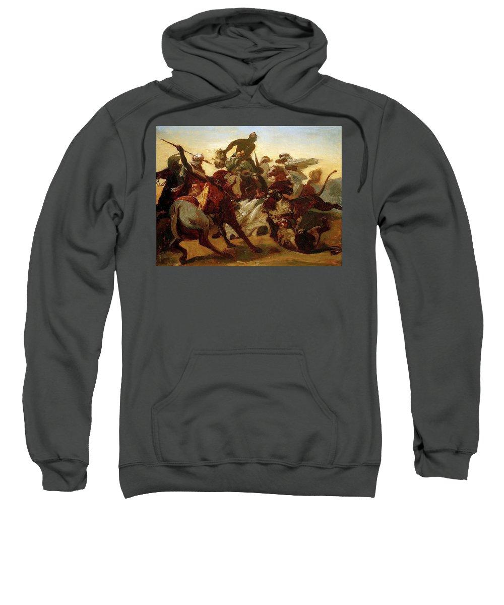 Crustacean Sweatshirt featuring the digital art The Lion Hunt Horace Vernet by Eloisa Mannion