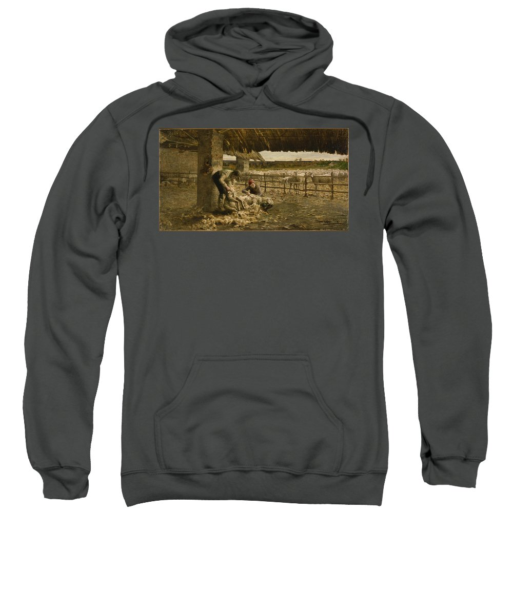 Giovanni Segantini Sweatshirt featuring the painting The Sheepshearing by Giovanni Segantini