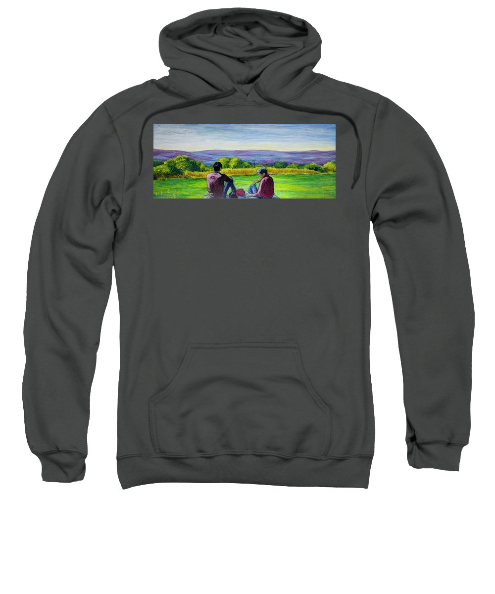 Landscape Sweatshirt featuring the painting The View by Ron Richard Baviello