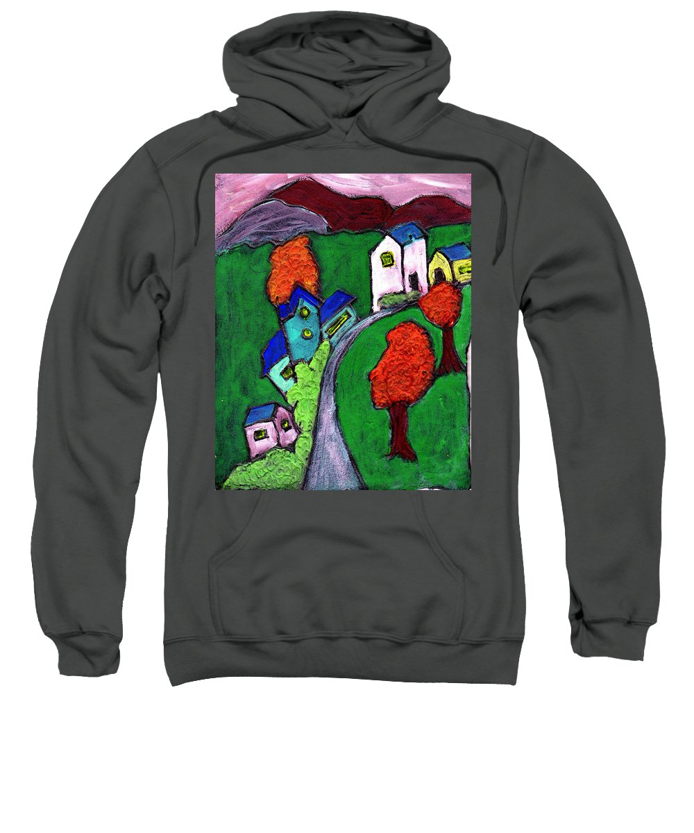 Whimsical Sweatshirt featuring the painting There Was A Crooked House by Wayne Potrafka