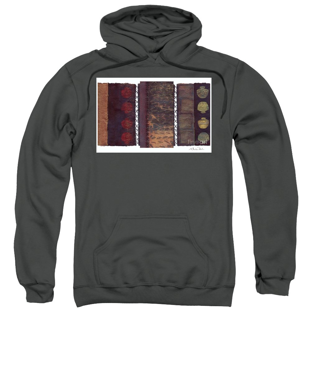 3panel Sweatshirt featuring the painting Three Panel Transitional Page Format by Kerryn Madsen- Pietsch