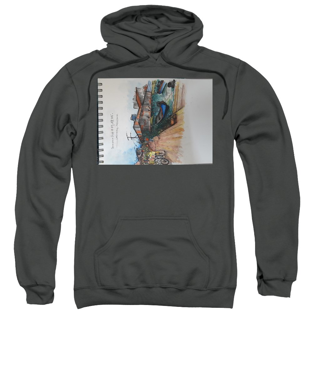 Watercolor Sweatshirt featuring the painting Trip To Chew's Bridge by Tan Lan Ching