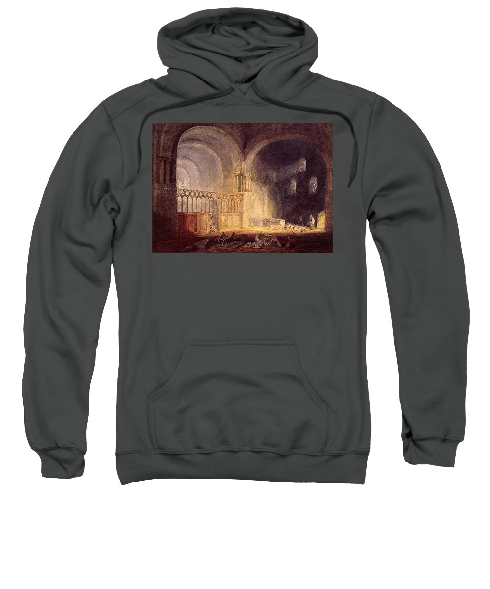 Vault Sweatshirt featuring the digital art Turner Joseph Mallord William Transept Of Ewenny Prijory Glamorganshire Joseph Mallord William Turner by Eloisa Mannion