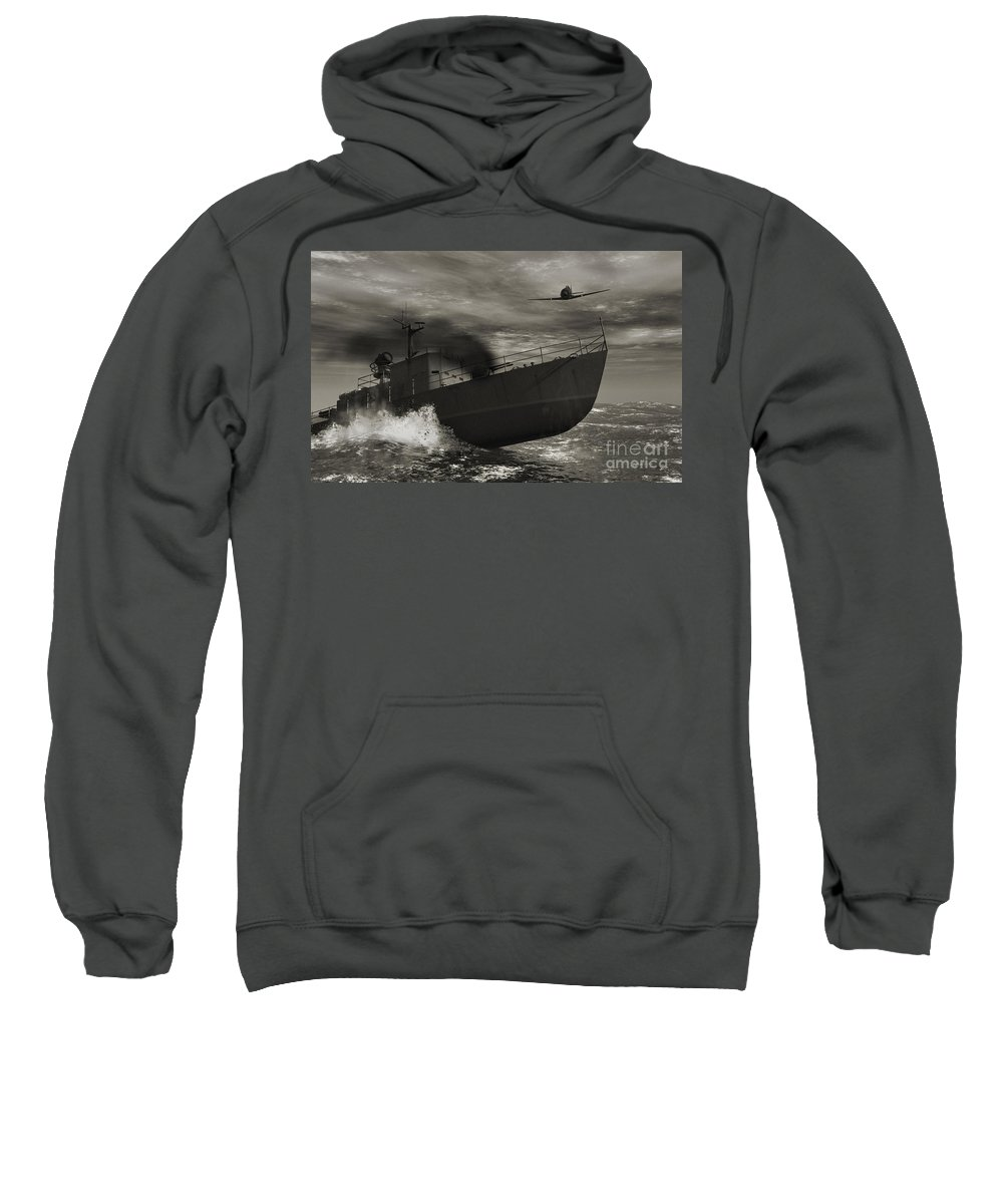War Sweatshirt featuring the digital art Under Attack by Richard Rizzo