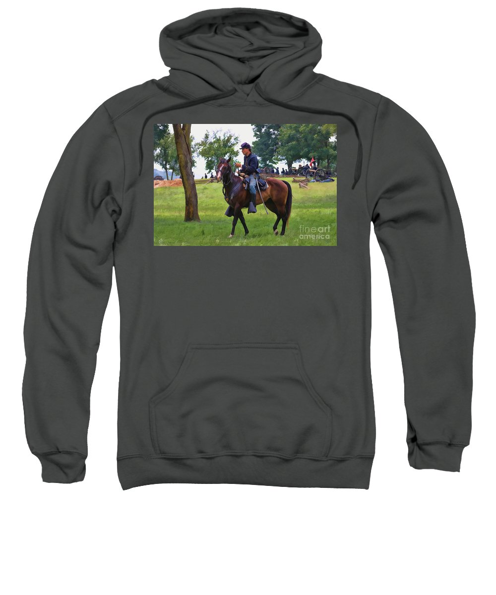 Union Sweatshirt featuring the digital art Union Cavalryman by Tommy Anderson