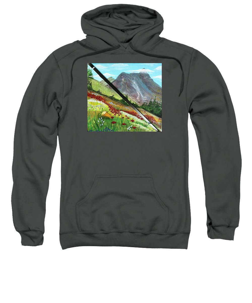 Valley Sweatshirt featuring the painting Valley by Sigita Smetonaite