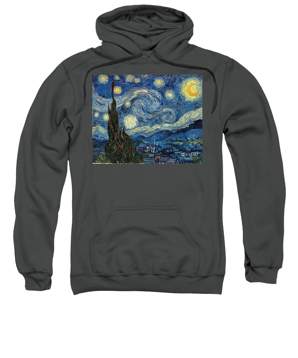 1889 Sweatshirt featuring the painting Van Gogh Starry Night by Granger