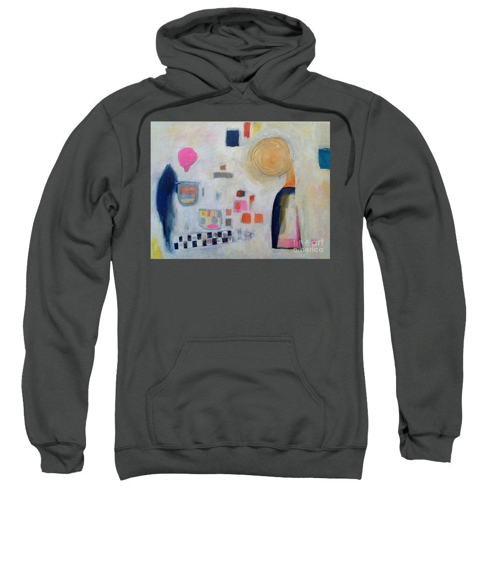 Abstract Colourful Acrylic Modern Contemporary Hildur Hauks Sweatshirt featuring the painting Vision Of Chilhood by Hildur Hauksdottir