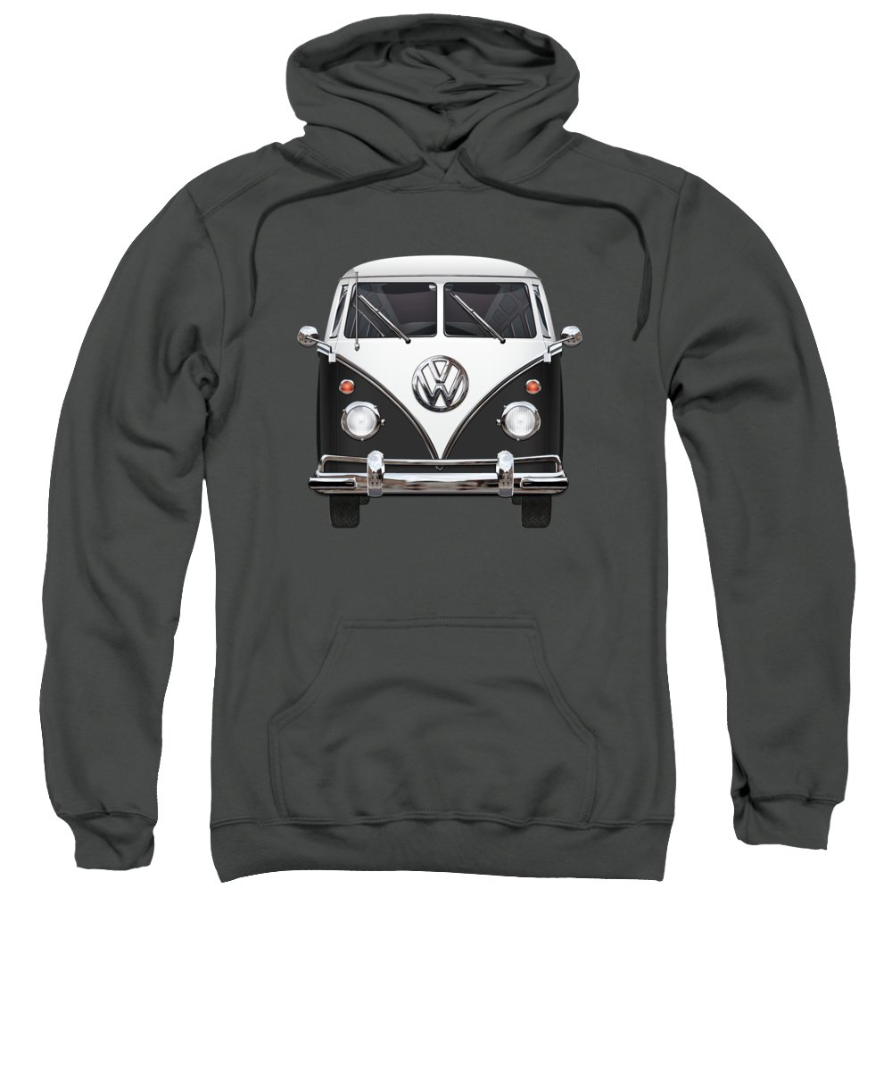 'volkswagen Type 2' Collection By Serge Averbukh Sweatshirt featuring the photograph Volkswagen Type 2 - Black And White Volkswagen T 1 Samba Bus On Red by Serge Averbukh