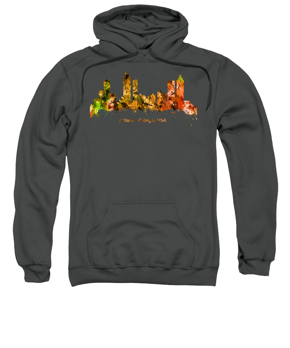 Atlanta Sweatshirt featuring the photograph Watercolour Art Print Of The Skyline Of Atlanta Georgia Usa by Chris Smith