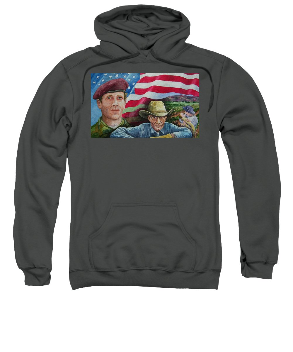 Soldier Sweatshirt featuring the painting We Hold These Truths by Gale Cochran-Smith