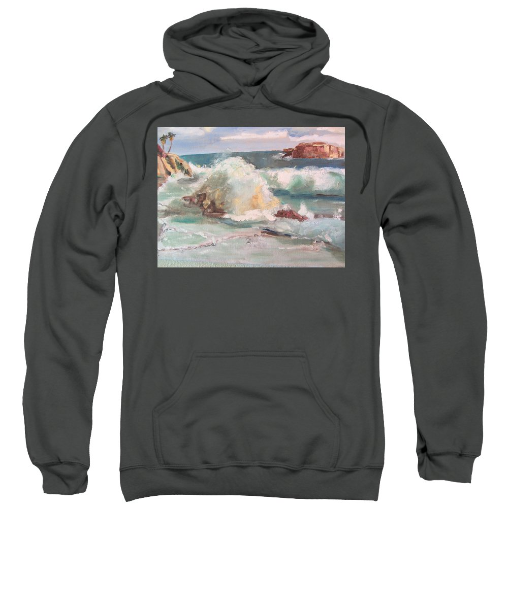 Ocean Sweatshirt featuring the painting West Coast by Dody Rogers