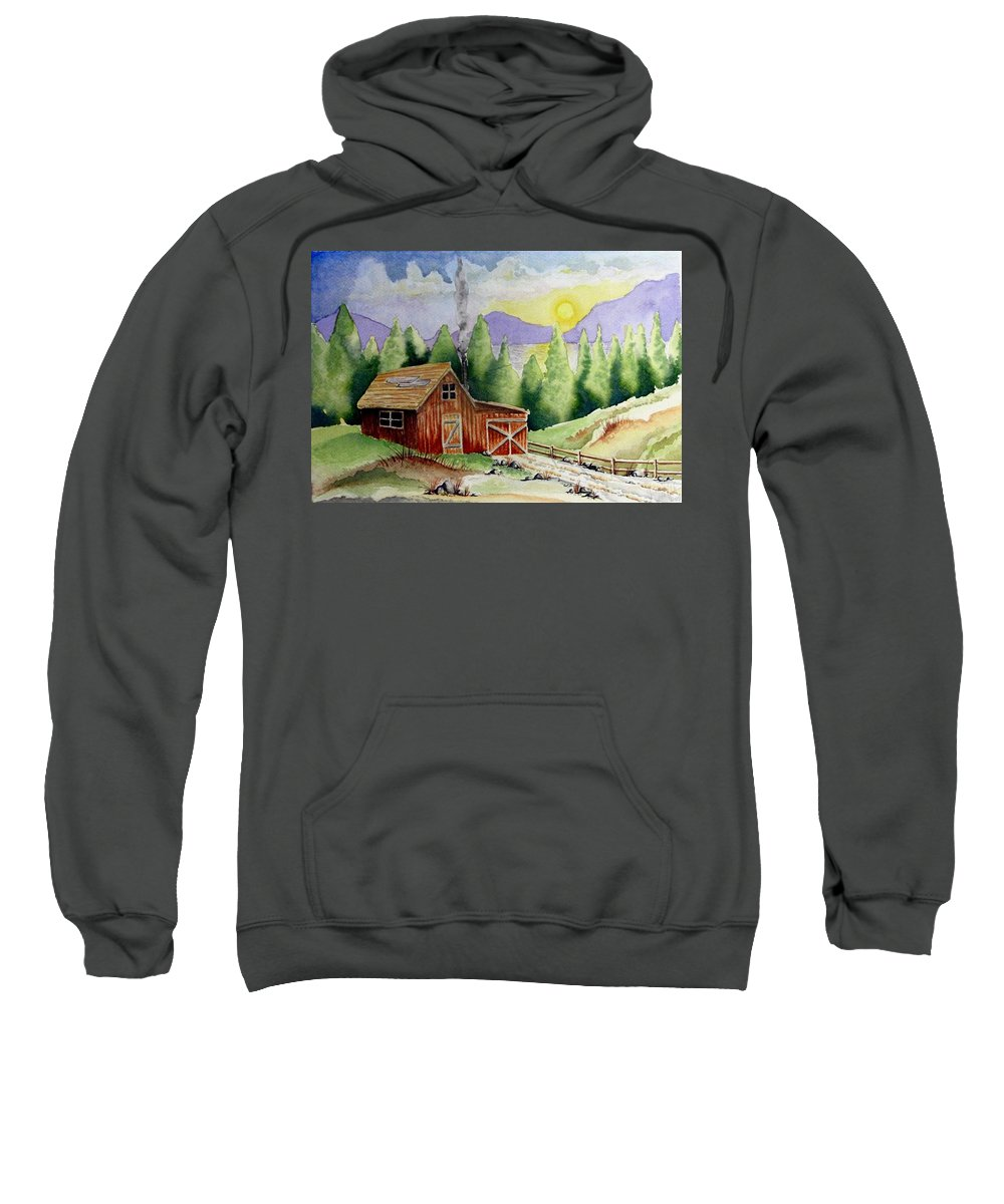 Cabin Sweatshirt featuring the painting Wilderness Cabin by Jimmy Smith