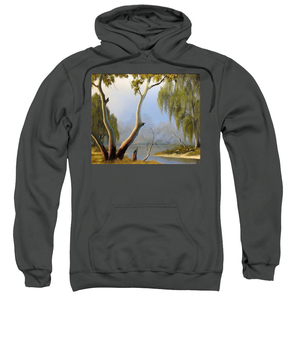 River Sweatshirt featuring the painting Willow Creek by John Cocoris