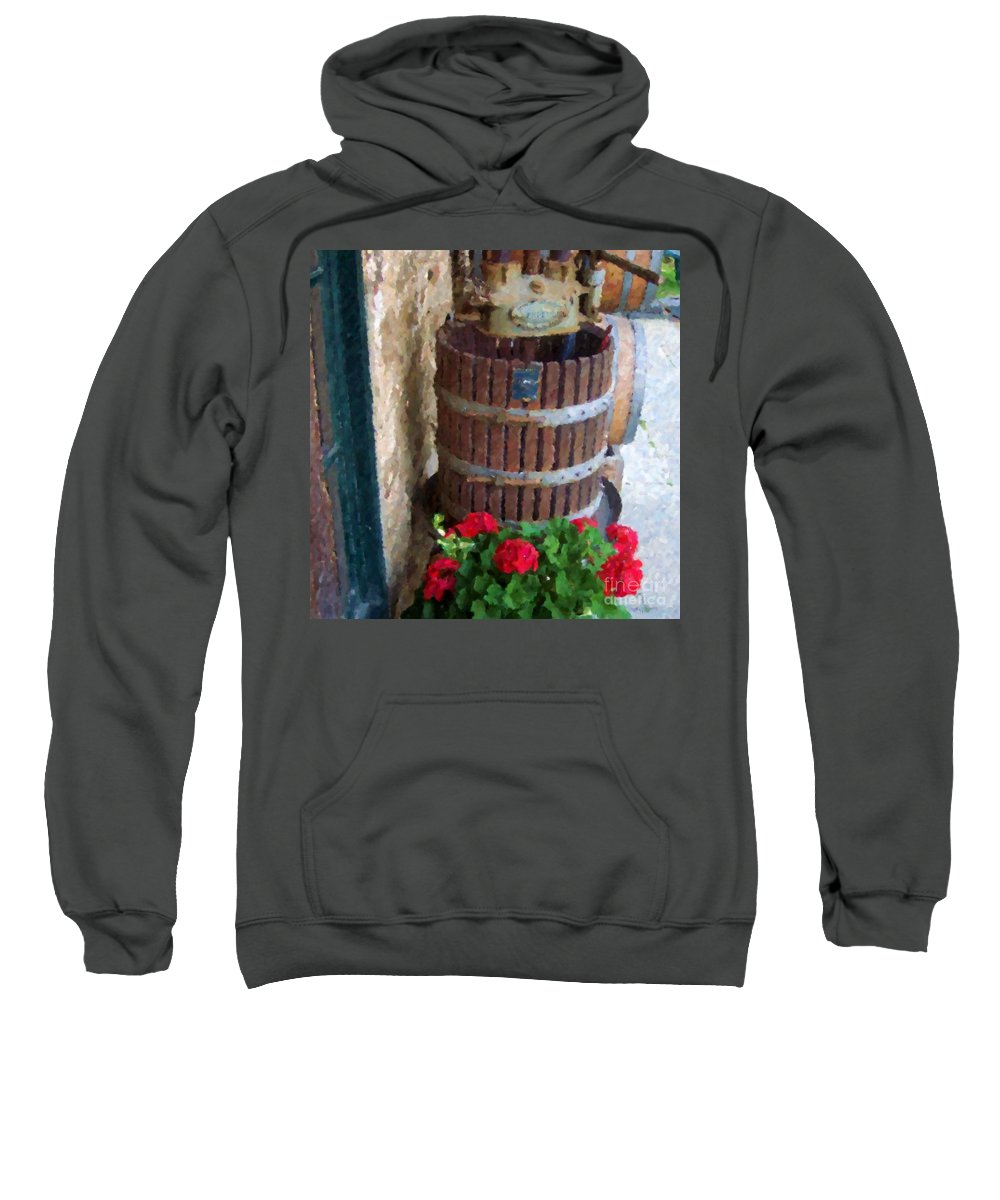 Geraniums Sweatshirt featuring the photograph Wine And Geraniums by Debbi Granruth