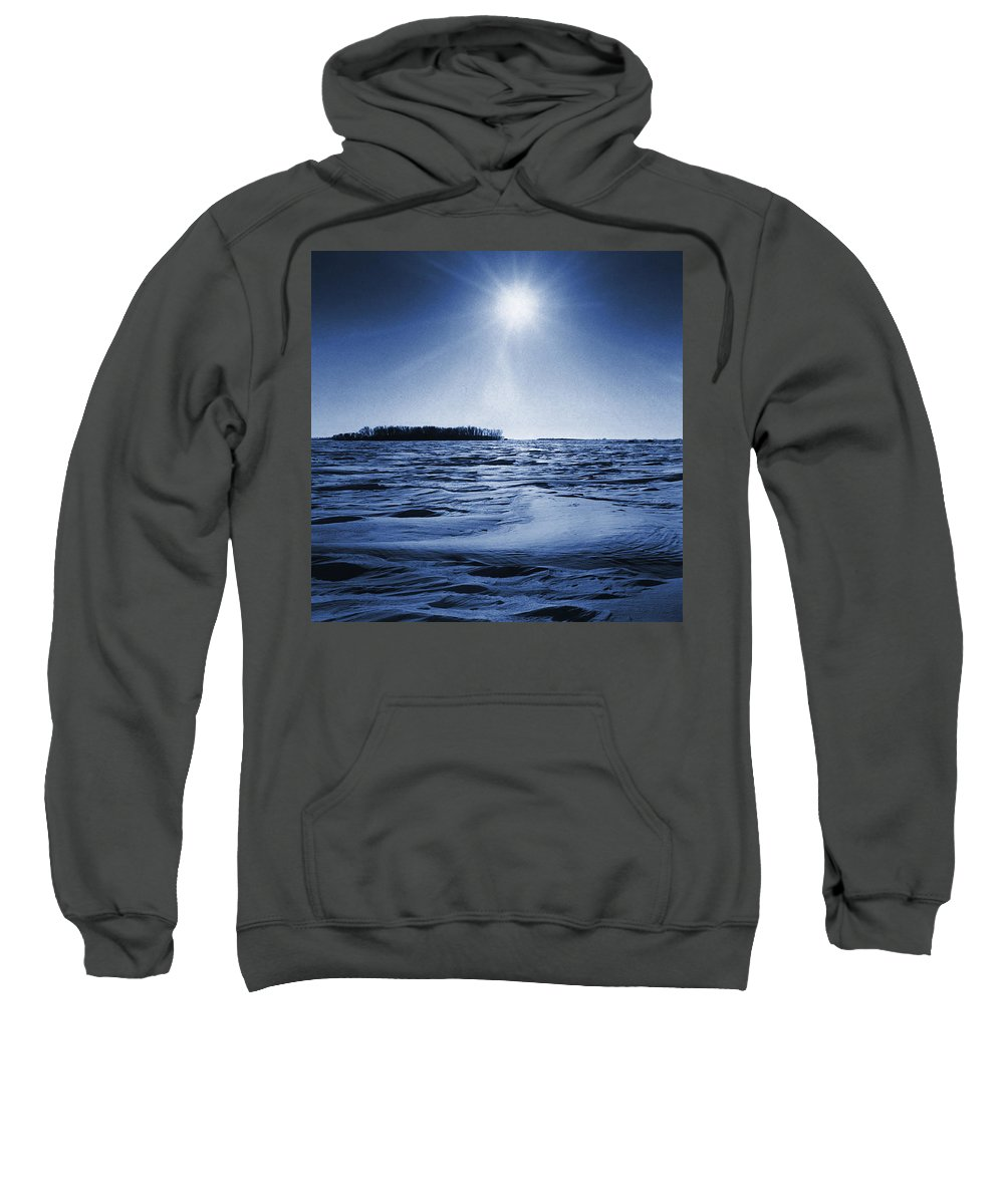 Clouds Sweatshirt featuring the photograph Winter Setting Sun Blue Toned by Donald Erickson