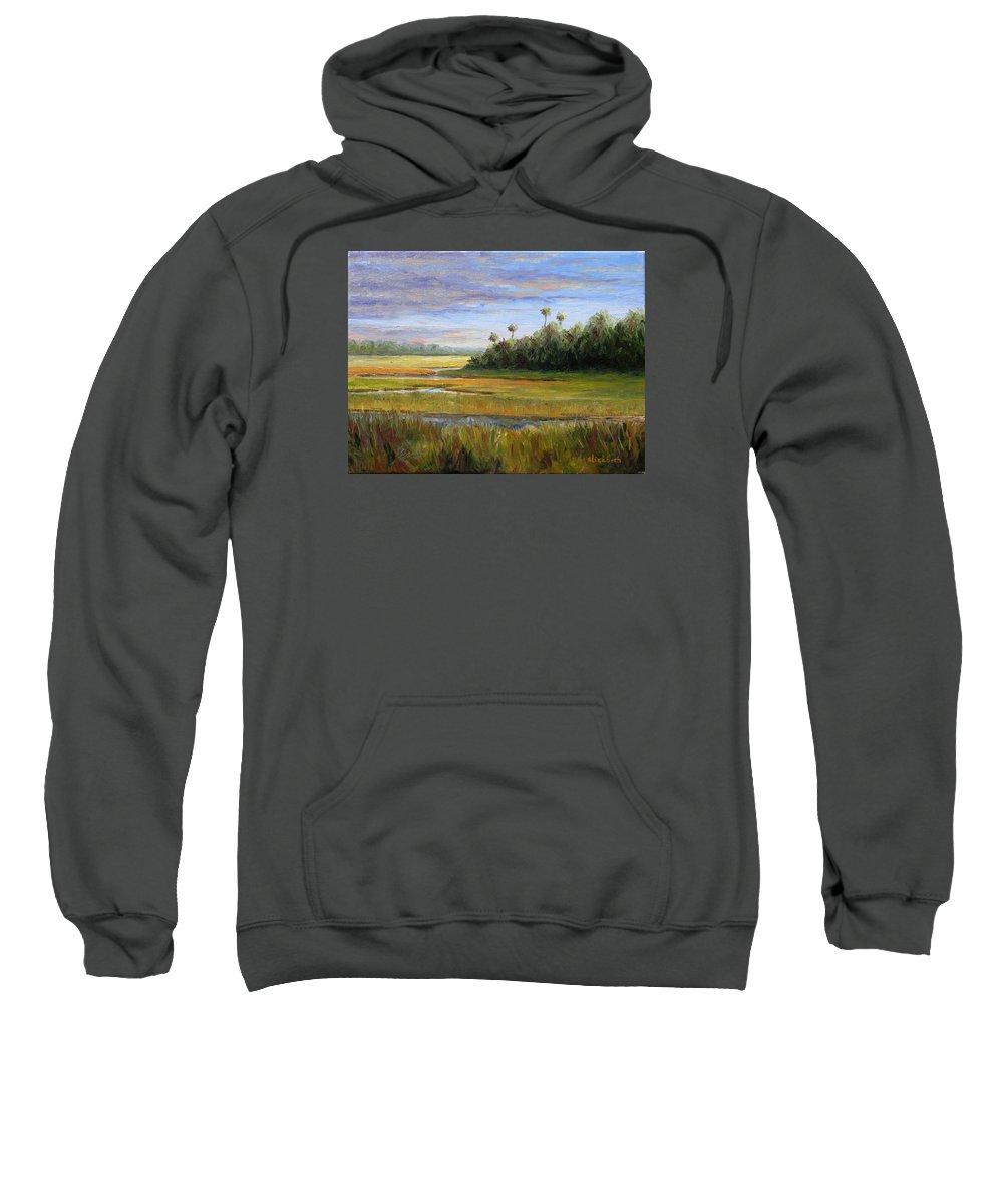 Marsh Sweatshirt featuring the painting Yellow Marsh by Beth Maddox